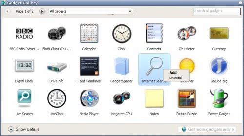 Windows Vista Sidebar For Windows XP