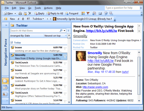 microsoft outlook twitter