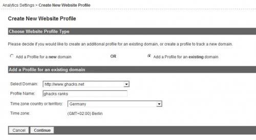 google analytics new profile