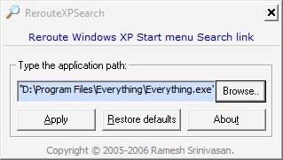 reroute xp search
