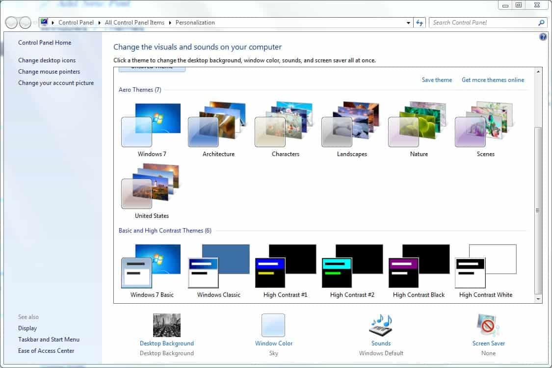 Windows 7 themes ghacks tech news for Window 07 themes