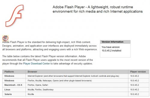 test adobe flash player version