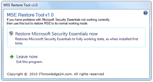 Microsoft Security Essentials Restore Tool