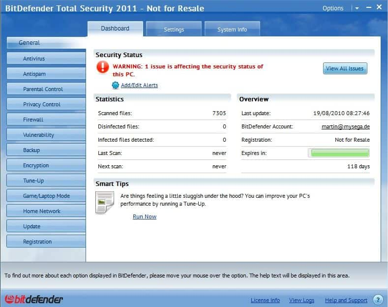 BitDefender Total Security 2011 Build