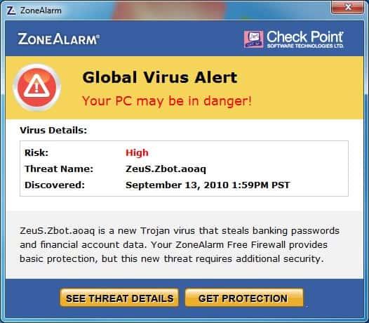 ZoneAlarm Global Virus Alert About ZeuS.Zbot.aoaq ...
