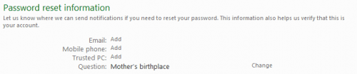 password reset information