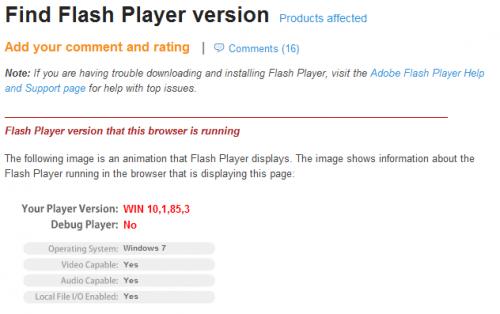 flash player version