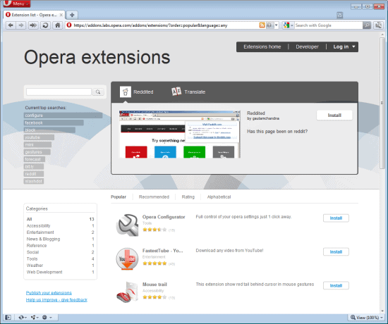 opera extensions