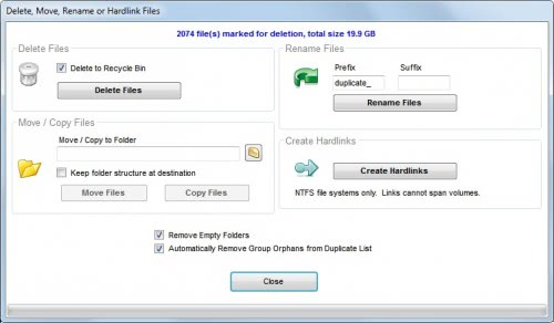 delete duplicate files