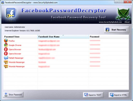 login to facebook. Facebook Password Decrypter automatically scans the system for the installed