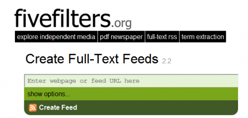 fivefilters full-text rss feed