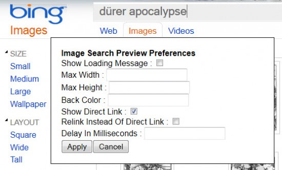 image search preview preferences