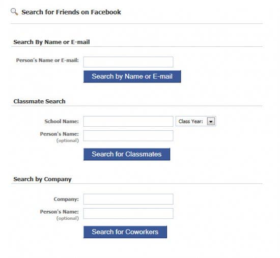 search for friends on facebook