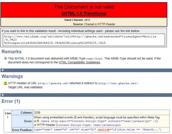 Validome Web Page Validator Ghacks Tech News
