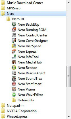 The two core programs installed are Nero BackItUp and Nero Burning ROM