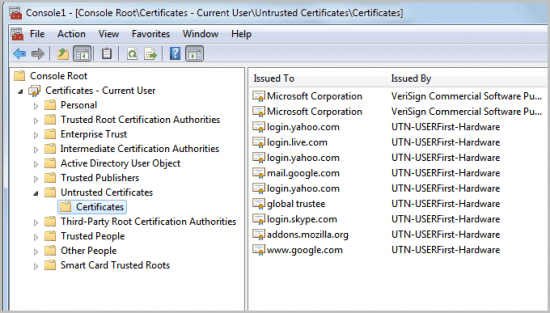 untrusted certificates