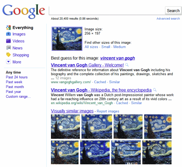 upload image on google search. The search results page displays the uploaded image on top, and possible