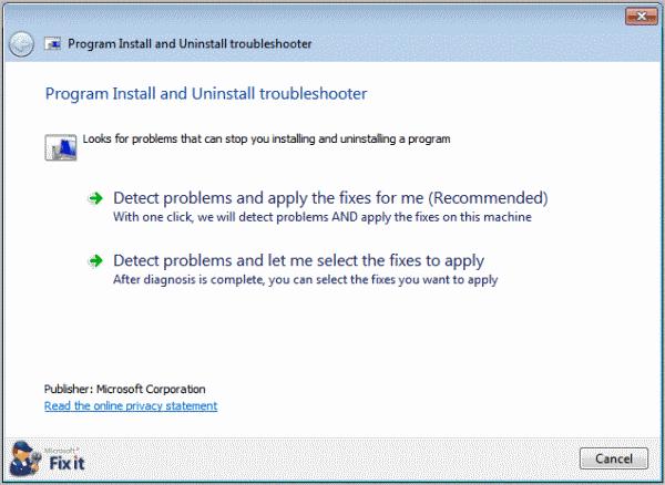 program install uninstall troubleshooter