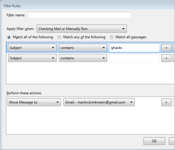 thunderbird message filters rules