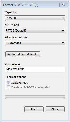 format usb key