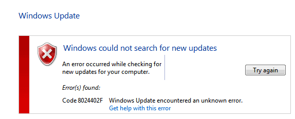 windows update error