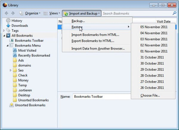 restore firefox bookmarks