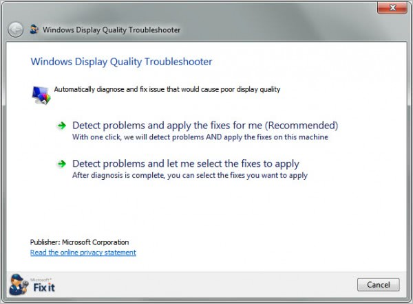 windows display quality troubleshooter