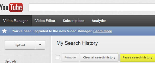 how to clear search history youtube