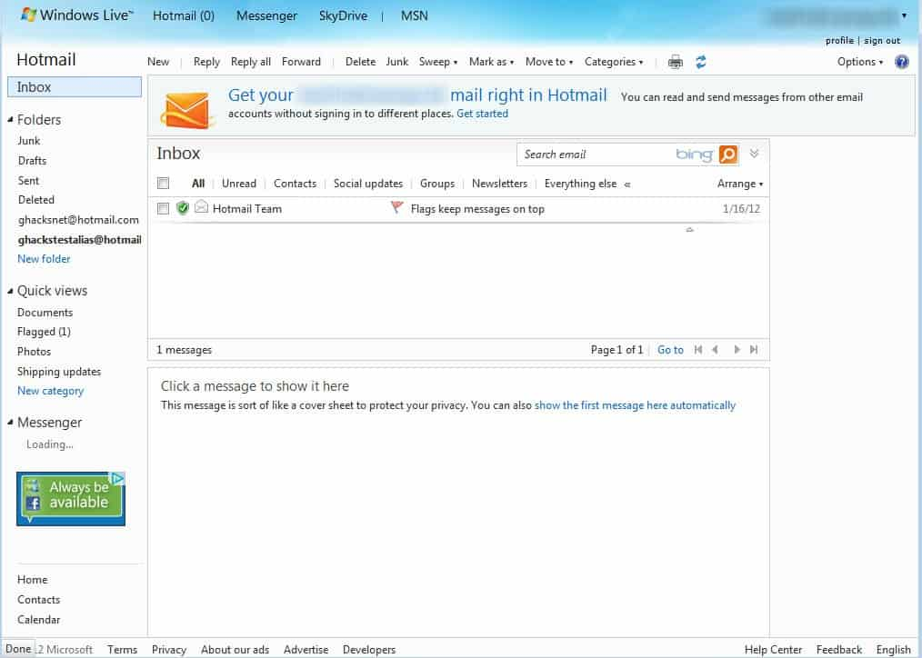 Hotmail's Redesign, Microsoft Goes all in on Metro - gHacks Tech News