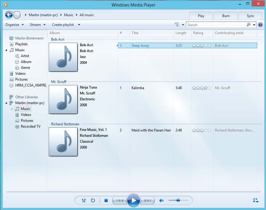 Windows Media Player Windows 8