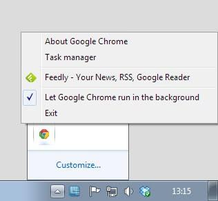 Google chrome beta system tray