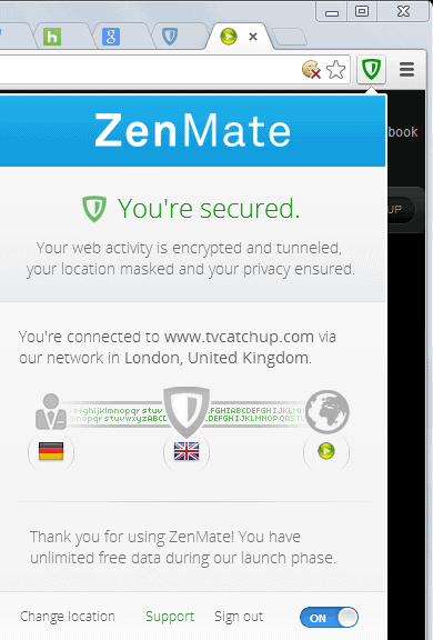 Zenmate for chrome is a vpn with easy location switching ghacks tech