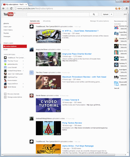 Access Youtube Video Subscriptions Faster With A Change To Grid Layout Ghacks Tech News