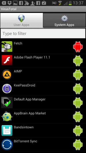 virustotal for android