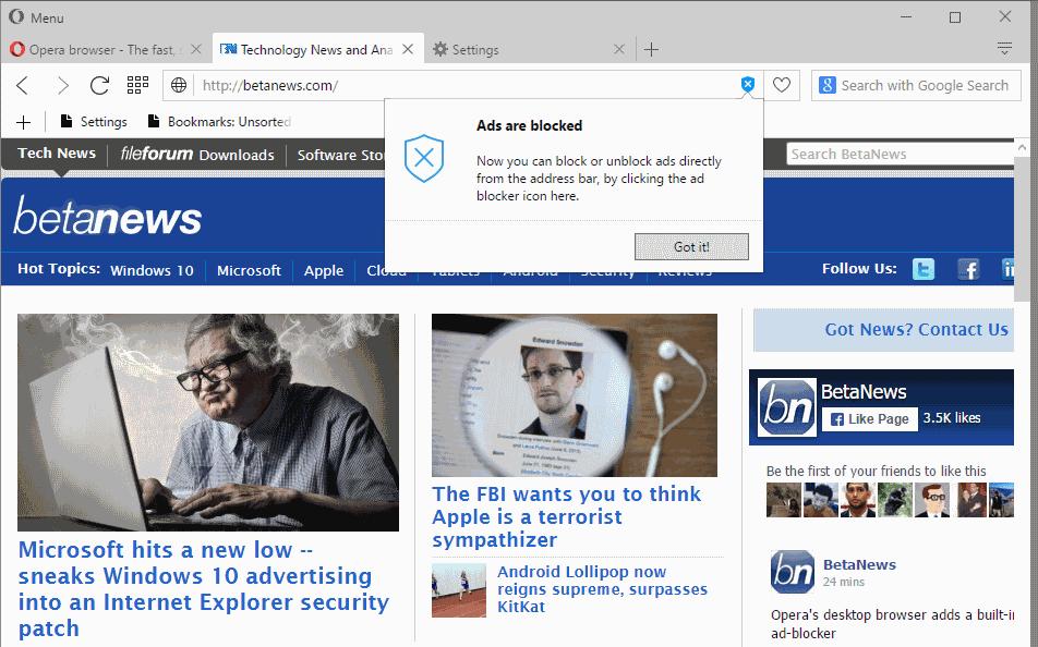 opera ads blocked