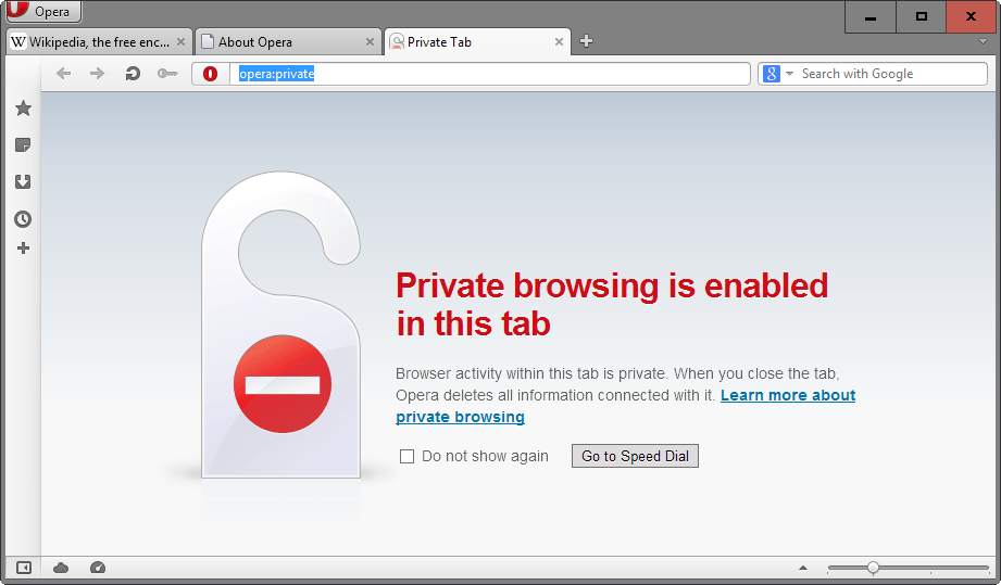 private browsing tab