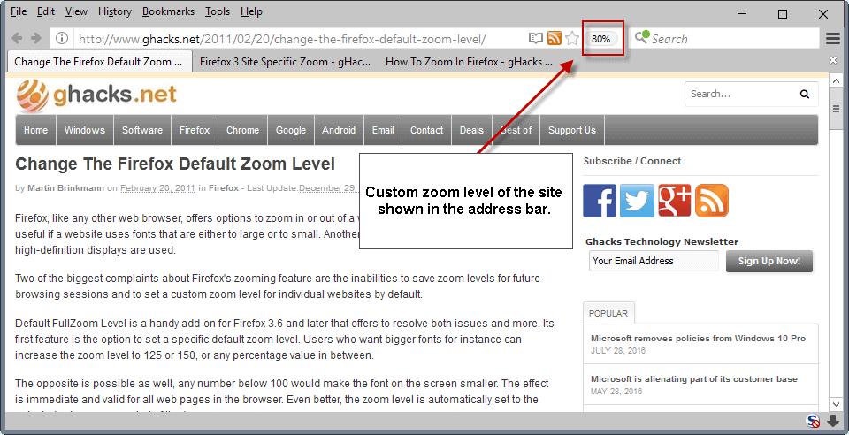 custom zoom level firefox