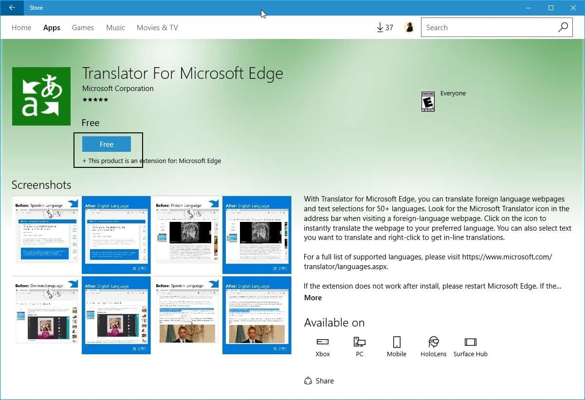 install edge extensions