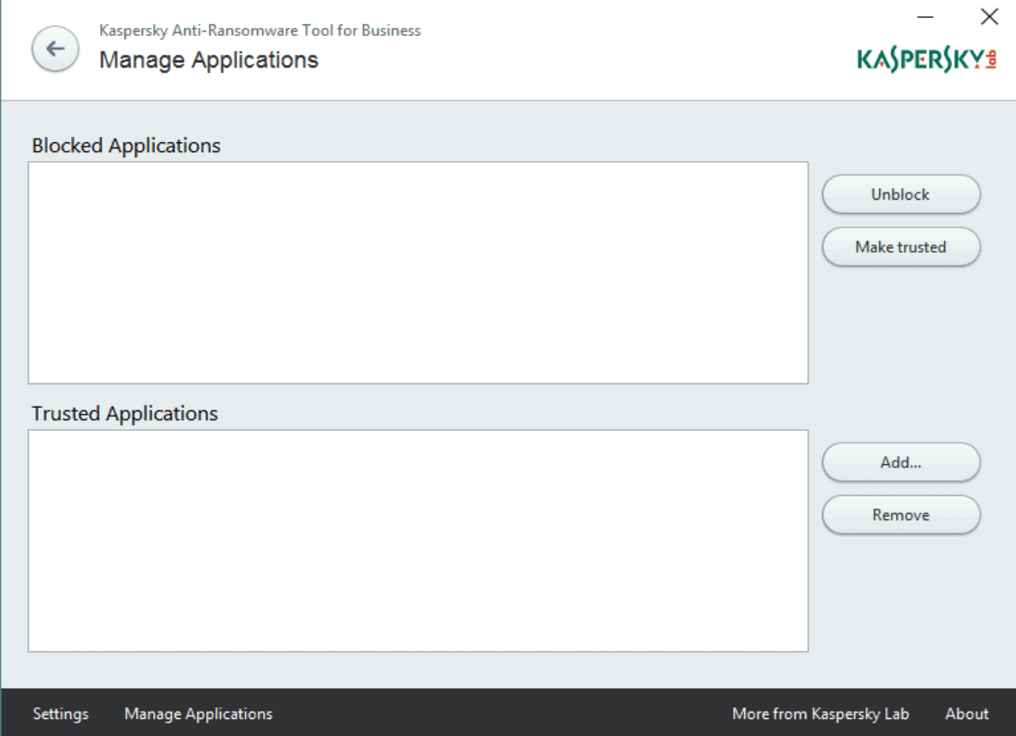 kaspersky anti-ransomware tool manage