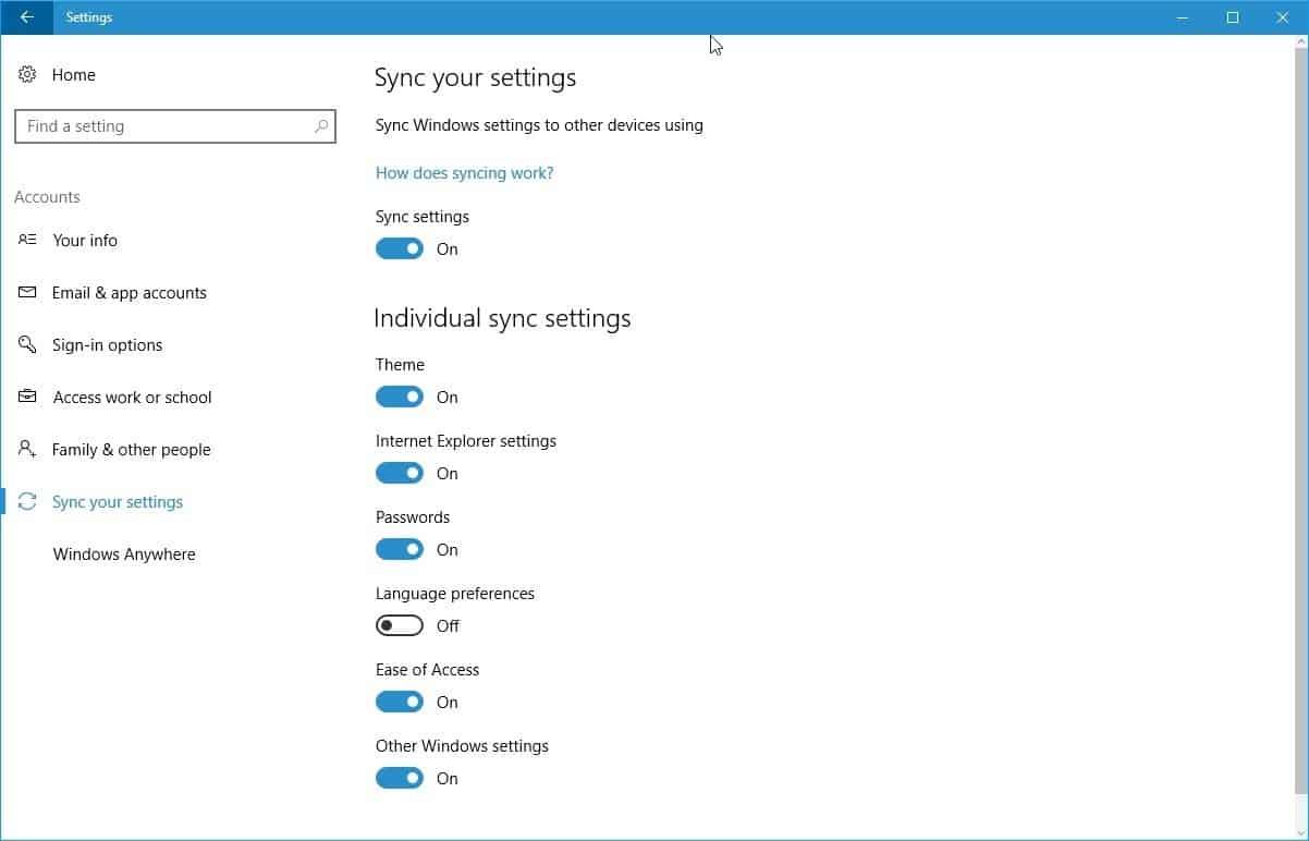 sync my settings in windows 10