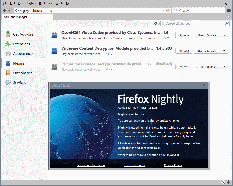 firefox 52 no plugins