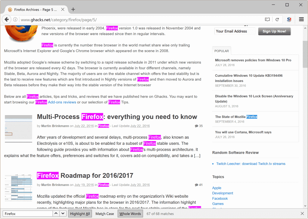 firefox whole words search