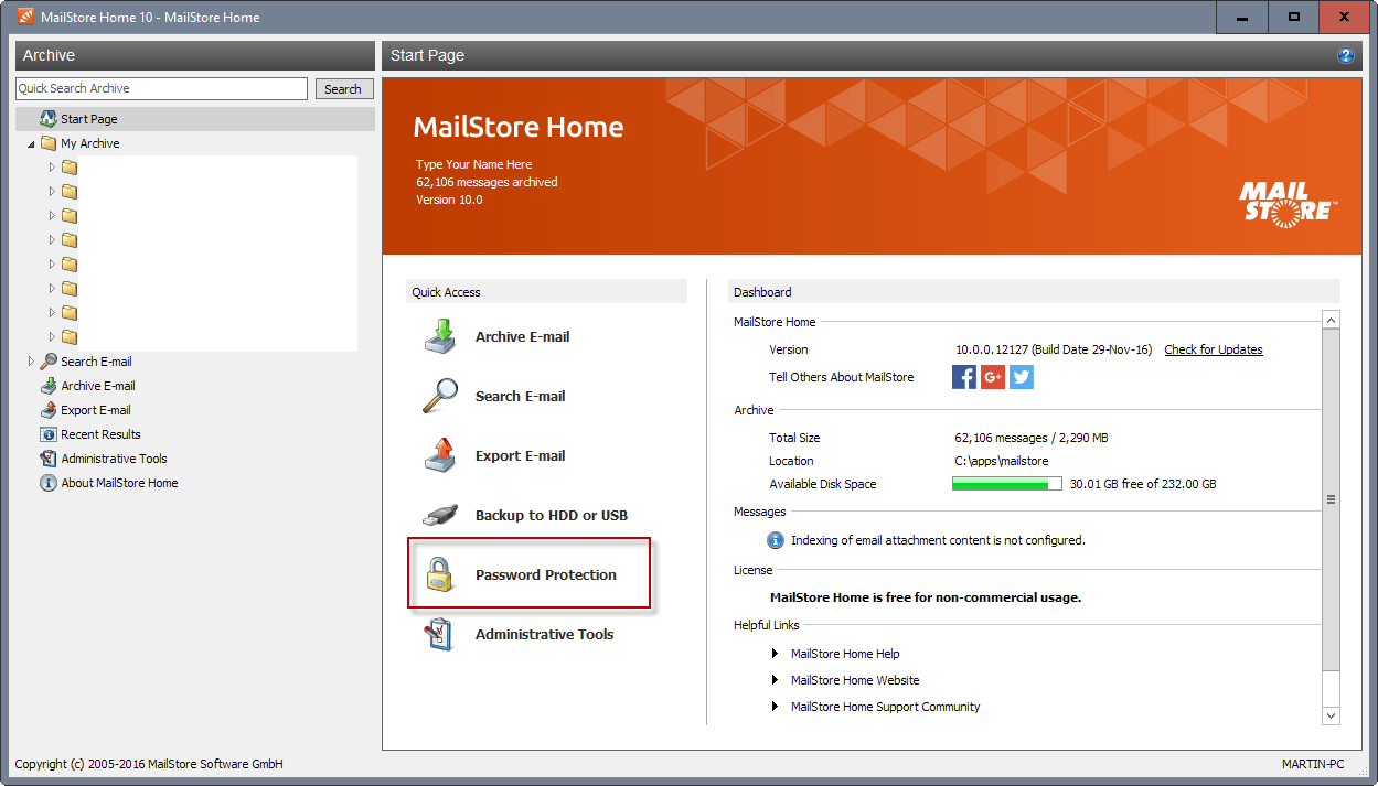 mailstore home 10 interface