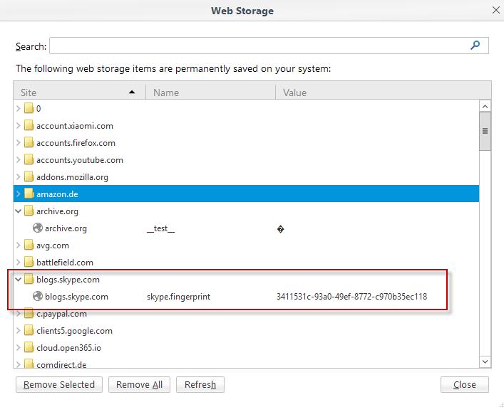 web storage viewer