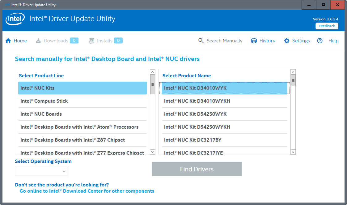 intel driver update utility manual search