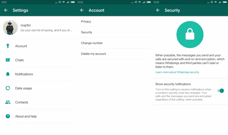 whatsapp security notifications