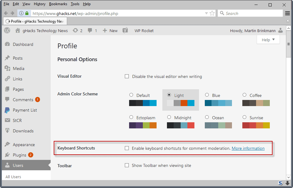 comment moderation keyboards wordpress