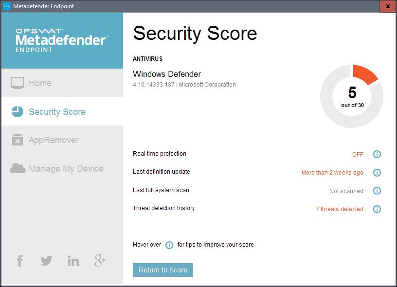 metedafender endpoint score