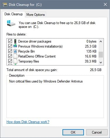 disk cleanup system files