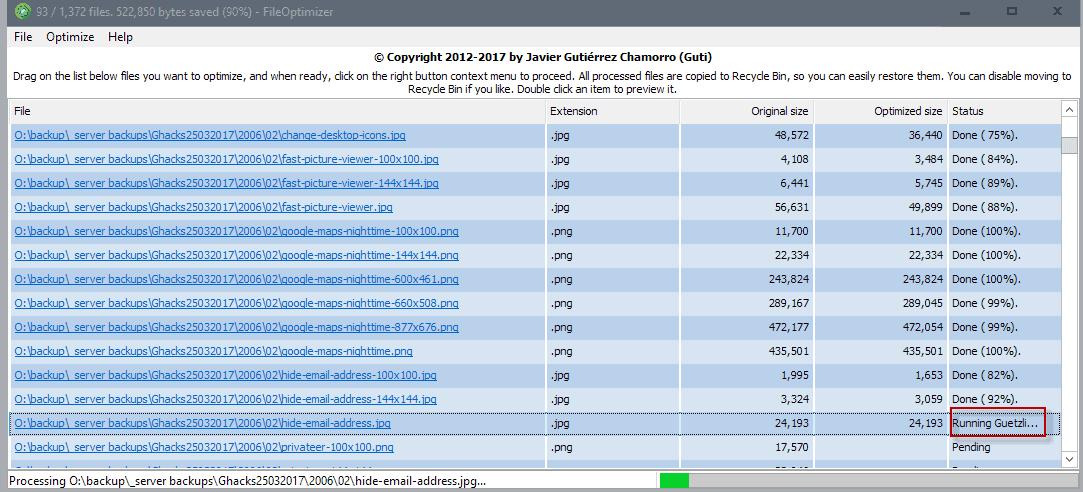 running guetzli file optimizer